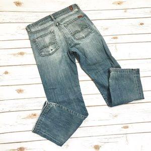 7FAM Standard ripped Distressed Boyfriend Jeans